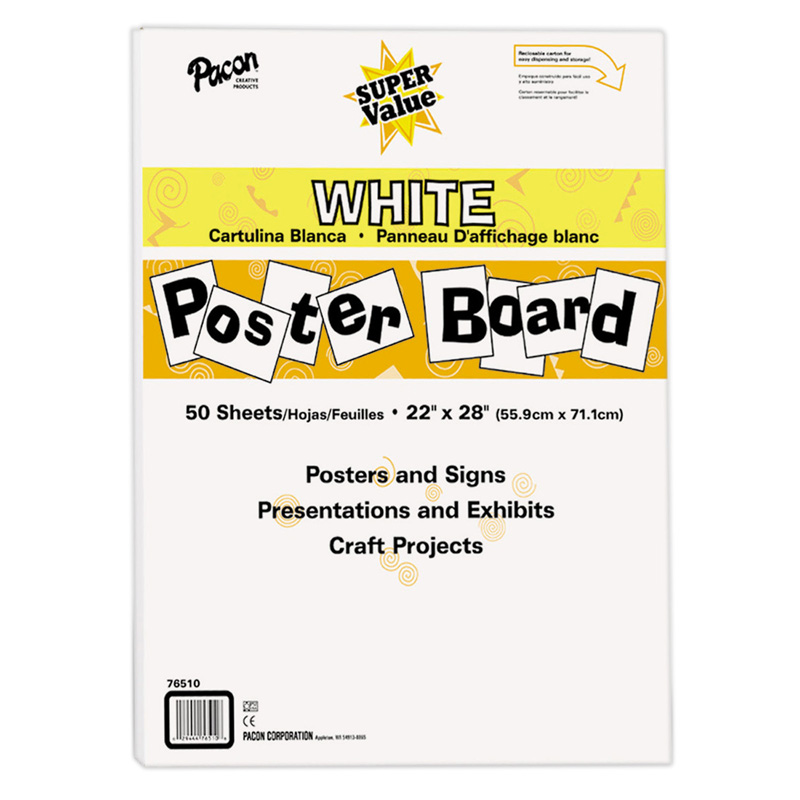SUPER VALUE POSTER BOARD ALL WHITE | Poster Board - PAC76510