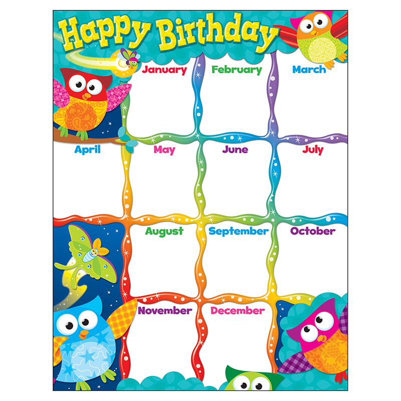 Year Calendar Jsf : Birthday bulletin board sets happy owl stars