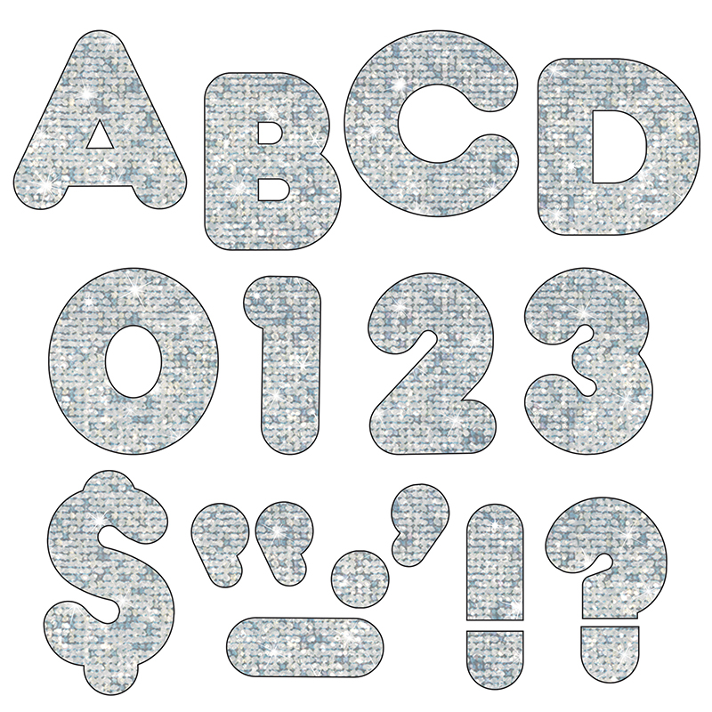 Bulletin board letters 2quot silver classroom decorations for 2 inch letter board letters